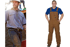 Shirts, belts, pants, coveralls
